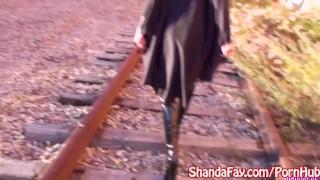Milf Shanda Fay Sucks Cock Outside as BatGirl! Handjob wonder