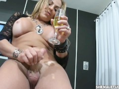 Horny T-girl shows off her shecock jerks off big dick and cum