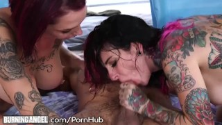 Emo double stepsisters cock team a cumshot fake
