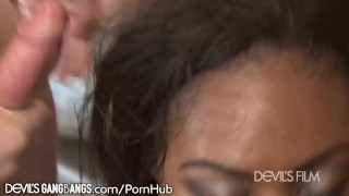 And chanell heart cummmmed on gangbanged latino double