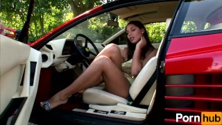 And cars scene  girls brunette outside