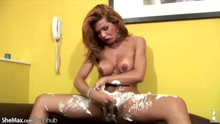 Bigtitted shemale swings around her freshly shaved big cock