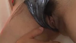 Asian bitch getting her wet pussy fingered in close up