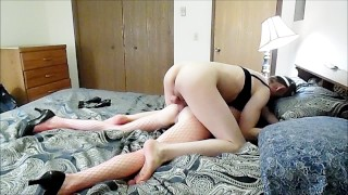 Sexy crossdresser gives skinny bitch's pussy and ass a good pounding