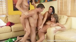 3 Horny MILFs Sink Their Claws Into Younger Guy!