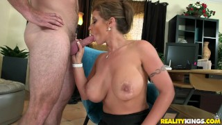 Reality Kings - Milf shows off her huge tits Petite blonde