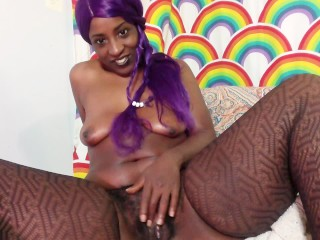 Thick purple hair ebony playing with glass butt plug in fishnet stockings