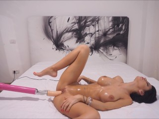 NEW Anisyia Livejasmin CUMshot on huge oiled tits – fuckingmachine blowjob