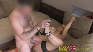 Tight desk fakeagentuk fucked shaven over pussy blowjob tits