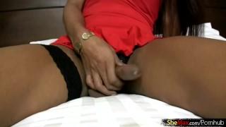 Elegant pov womanlike shows ladyboy sucks in ladystick and panties feminine