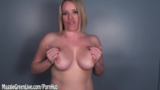 All Natural Blonde Maggie Green Encourages Big Load on Tits!