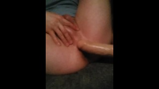 Fucks his tight hole with thick dildo and huge handsfree cumshot  deep ass fuck solo cumshot shooting load solo dildo no hands cum shooting cum hands free cum massive cum load big dildo british wanking dildo