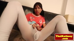 Ladyboy in leggings jerking off at home