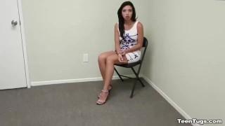 Stranger a teen jerking brunette petite