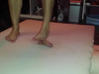 Hard barefeet cockcrush with cruel big feet and red toenails