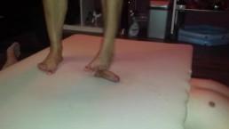 Hard barefeet cockcrush with cruel big feet and red toenails