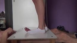 Cock and balls crush in white socks