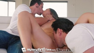 Myveryfirsttime her first takes blair for threesome cocks shane 3some hardcore
