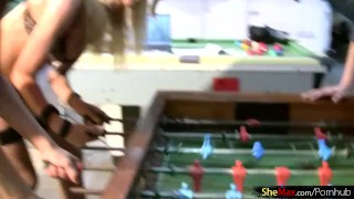 Four T-girls play foosball in lingerie and bang big asses