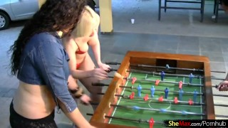 Four T-girls play foosball in lingerie and bang big asses Swallow tits