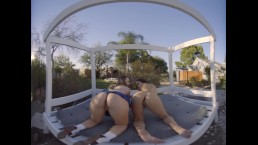 Two hot babes shake their ass and make out for their golf instructor in VR