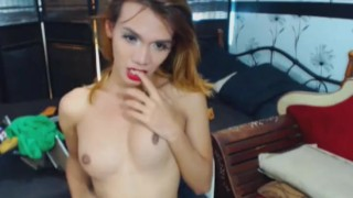 Horny shemales playing dirty cam on two shemale dick