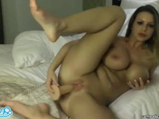 blonde with huge tits and big ass sucking and fucking huge dildo on private