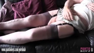 Sissy pantie slut masturbates his big hard cock in sexy nylon panties
