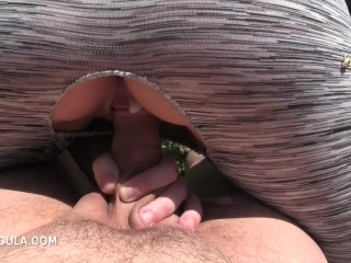Entertaining My Neighbors with a Riding Creampie in the Backyard