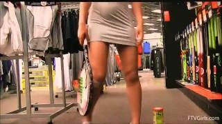 Teen masturbates with tennis racket in store