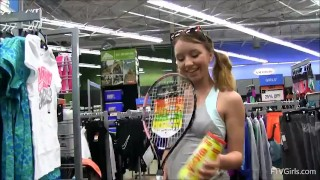 Teen masturbates with tennis racket in store