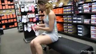 In teen tennis store with masturbates racket flash outside