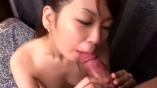 Asian delight sucking on a very rigid fat dick