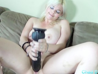 Alice Frost has some fun and takes huge dildos in her little pussy