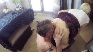 Naughty Schoolgirl Bent-over Getting Her Ass Licked