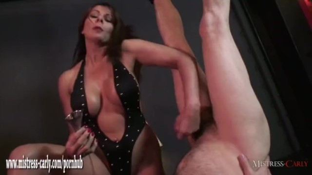Spunked pussies Busty mistress teases slaves cock with toys then handjob and spunk drinking