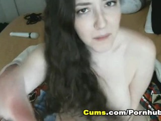 Busty Cam Girl Insert Huge Dildo on Her Pink Pussy