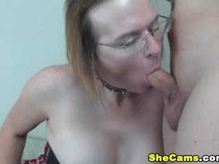 Mature shemale gets titty fucked and jizzed...
