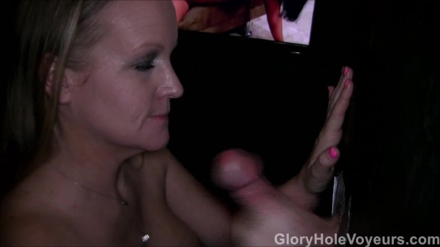 Voyeur glory hole - Gloryhole blonde milf first cock
