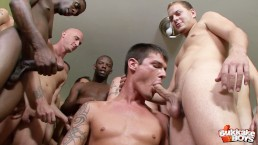 Sexy young man is eager to suck cock and get gang banged