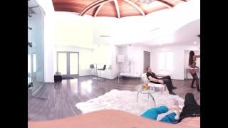 VR Bangers - 360°VR Hot Ebony Pole Dancer Nadia Jae fingered by 2 buddies Bdsm electrocution