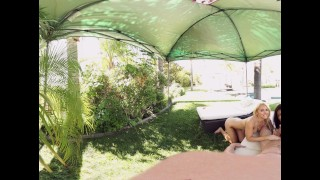 VR Bangers - 360°VR Alix and Nadia suck and ride white cock by the pool porno