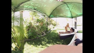 VR Bangers - 360°VR Alix and Nadia suck and ride white cock by the pool