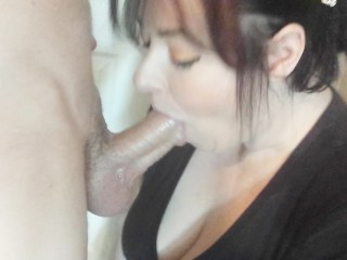 Pretty wife deepthroat my 9 inch cock and swallows cum on her way to work!