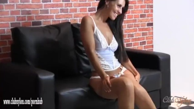 Naughty busty babe teases and fingering tight pussy in sexy nylon stockings 8
