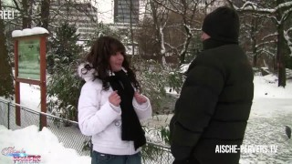 Screen Capture of Video Titled: Aische Pervers asking strangers for blowjobs - sucking cock dry in public !
