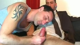 Full video: a sexy innocent vendor guy serviced his big cock by a guy!