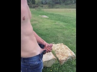 Hung Twink Pissing Outside