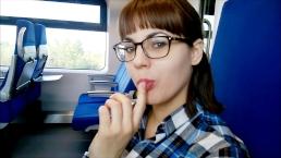 Public deep Blowjob in the train!