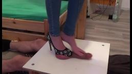 Hihg heel & barefoot footjob and brutal stomping on cock